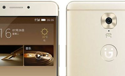Two Gionee M6 units: One showing the top rear, the other the top front