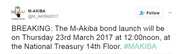 tweet on the launch date of M-AKiba
