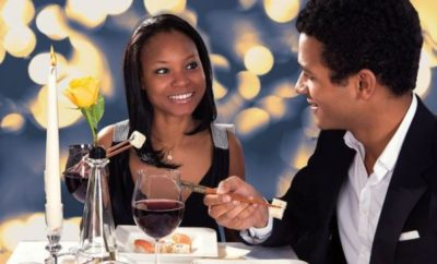 A man and a woman on a first date