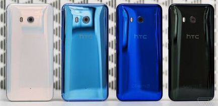 Rear view of four HTC U11 units in blue, black, pink, and green
