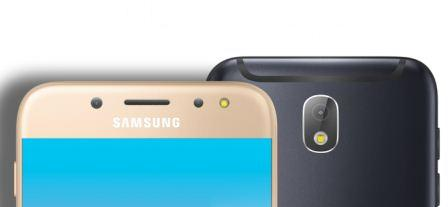 Two Samsung Galaxy J7 Pro units showing upper front and back