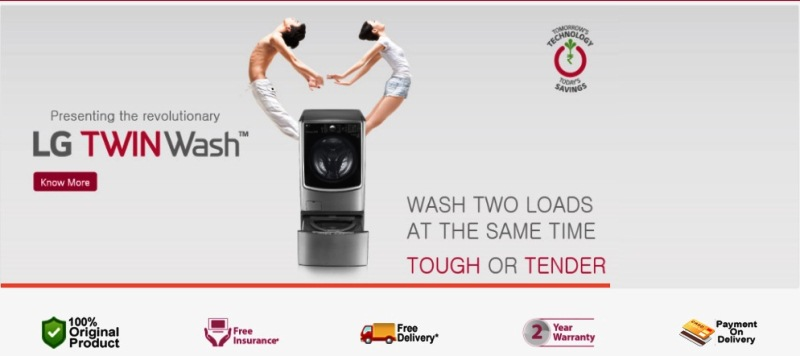 LG brand shop homepage picture of a washing machine