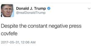 A screenshot of Donald Trump's Covfefe tweet