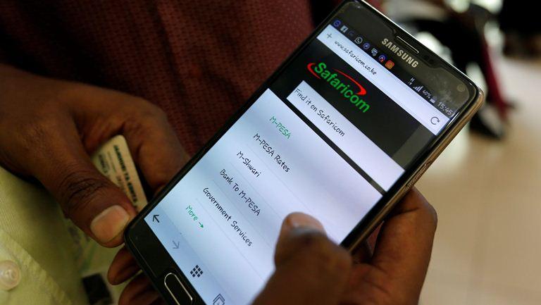 phone screen showing M-PESA menu