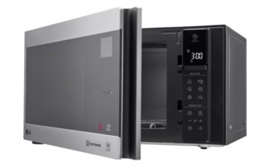LG NeoChef Microwave unit with a half-way open door