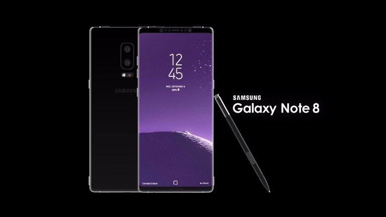 Samsung Galaxy Note 8 units: one showing the screen, the other rear