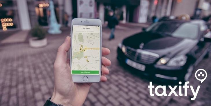 Taxify Kenya app Interface on a phone