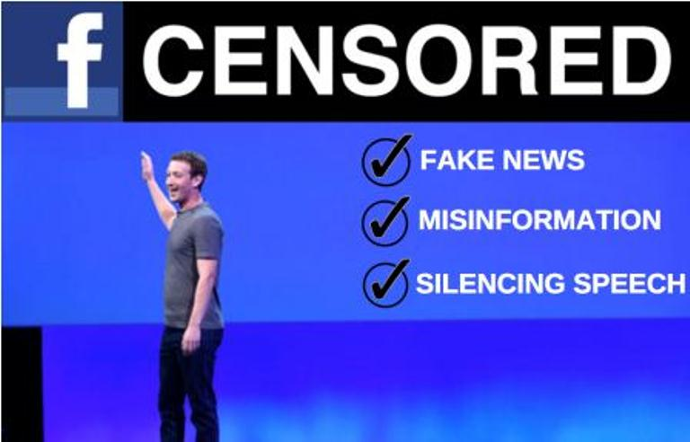 Facebook CEO pointing to a fake news banner