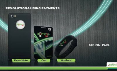 M-Pesa 1Tap sticker, card, and wristband