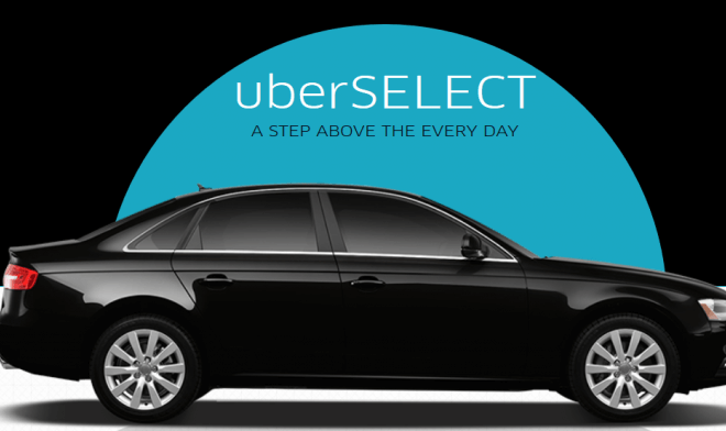 Uberselect ad banner with a black car