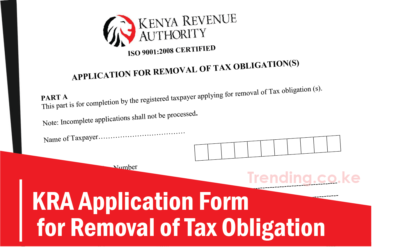 KRA Application Form for Removal of Tax Obligation