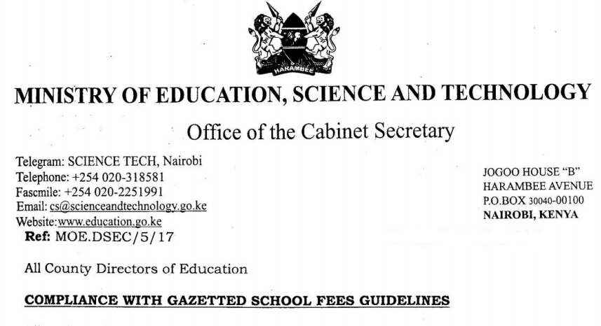 Fee Structure for Secondary Schools in Kenya 2021-2022